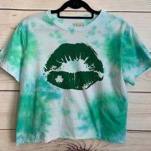 MODERN LUX Green Cropped Custom Tie Dyed Top XL